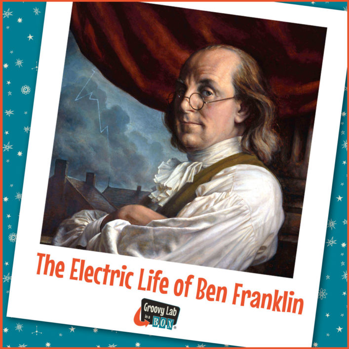Portrait of Benjamin Franklin, 3/4 view, with his arms crossed and his glasses on his nose.