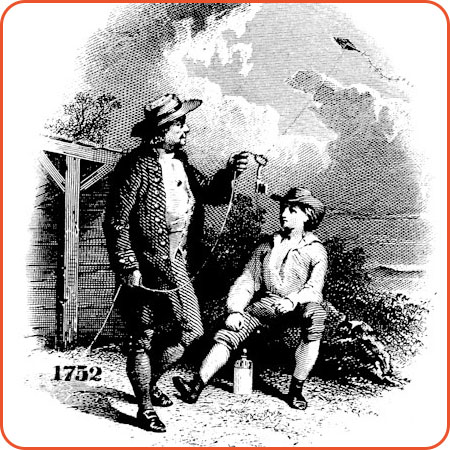 Illustration showing Benjamin Franklin holding a kite with a key on the string.  A boy in a hat is sitting next to him.  It is dated 1752.