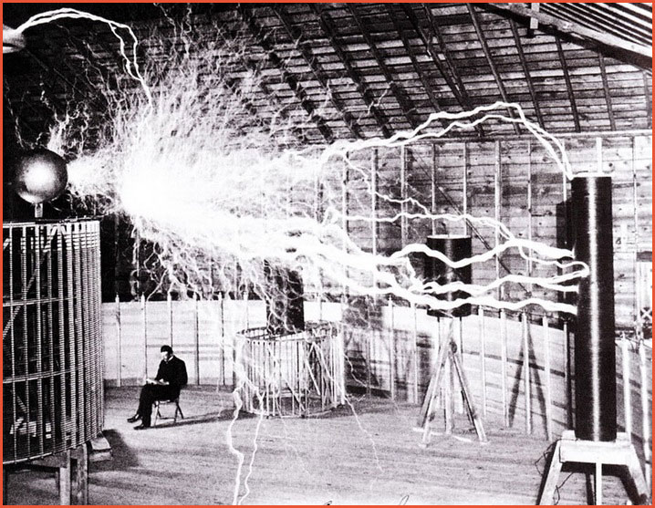 This Tesla coil shut down the power in Colorado Springs when this photo was taken. Photo by Dickenson V. Alley, photographer at the Century Magazines via Wikimedia Commons.