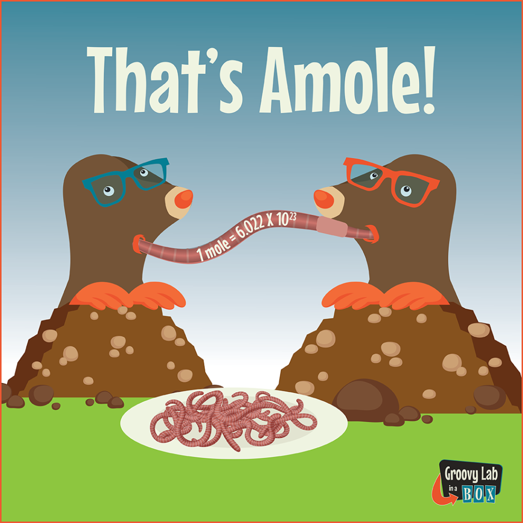 "An illustration of two moles slurping up an earthworm.  In the foreground is a plate full of earthworms.  Above the moles is ""That's Amole!"""