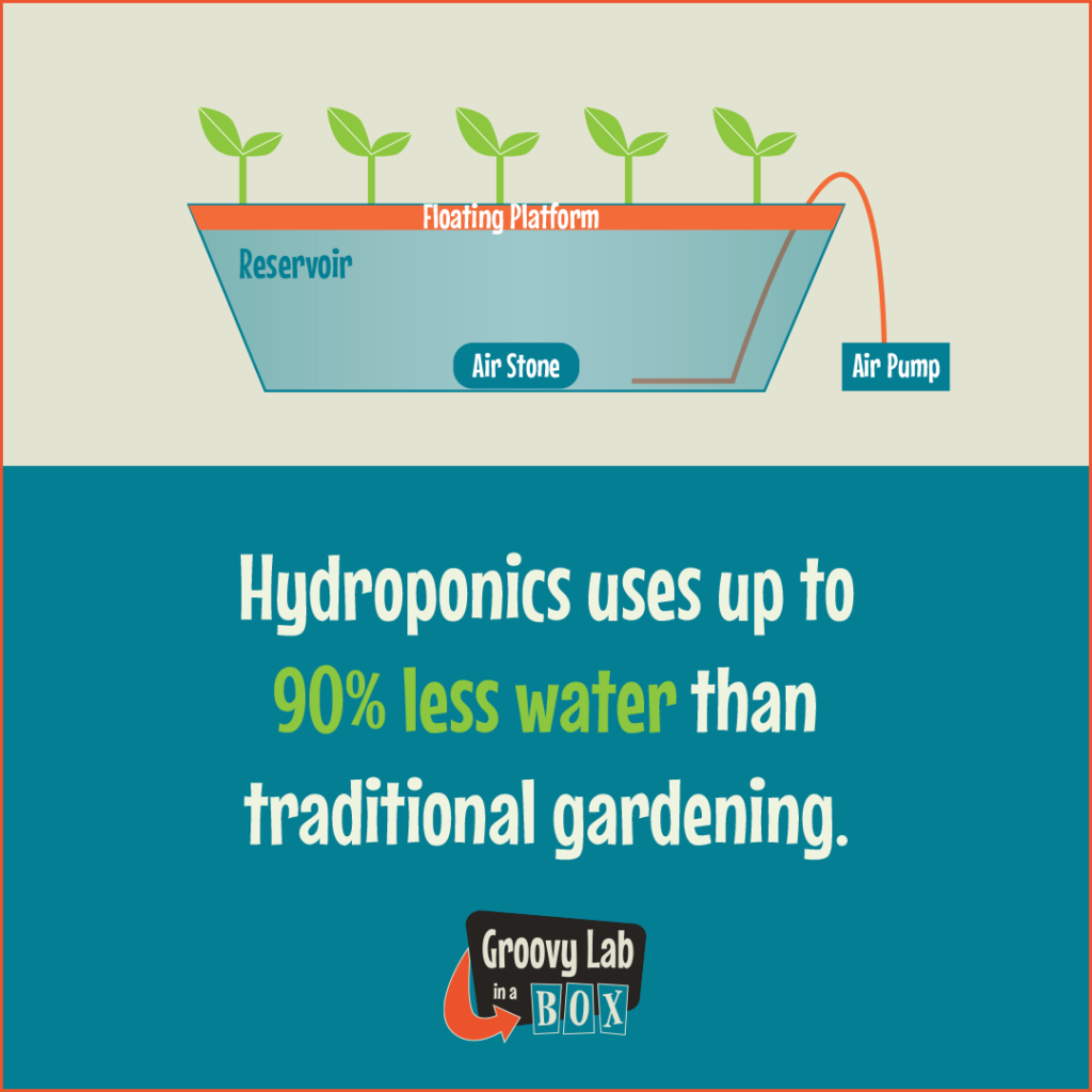 Illustration of a floating platform hydroponic system with a reservoir, air stone and air pump with the words: Hydroponics uses up to 90% less water than traditional gardening via Groovy Lab in a Box