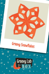 """Illustration of a paper snowflake titled """"Groovy Snowflakes"""""""